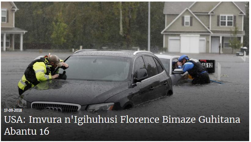 USA: Imvura na Serwakira Muri Florence Bimaze Guhitana Abantu 16